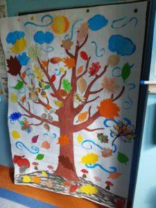 Zajęcia czytelnicze w oddziale dziecięcym brzeskiego szpitala - kolorowe, jesienne drzewo namalowane przez dzieci