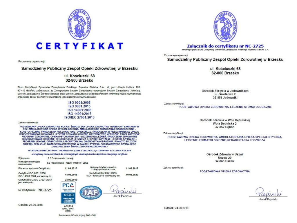 Certyfikat ISO 9001-2008, 9000-2015, 14001-2008, 14001-2015, 27000 - 2013