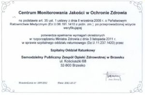 Certyfikat dla Szpitalnego Oddziału Ratunkowego