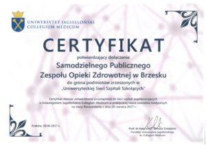 Certyfikat Uniwesyteckiej Sieci Szpitali Szkolących