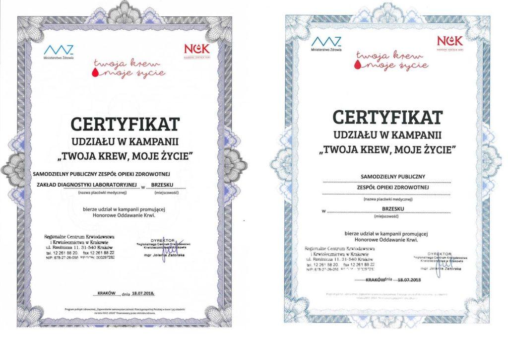 Certyfikat udziału w kampania Twoja krew Moje życie