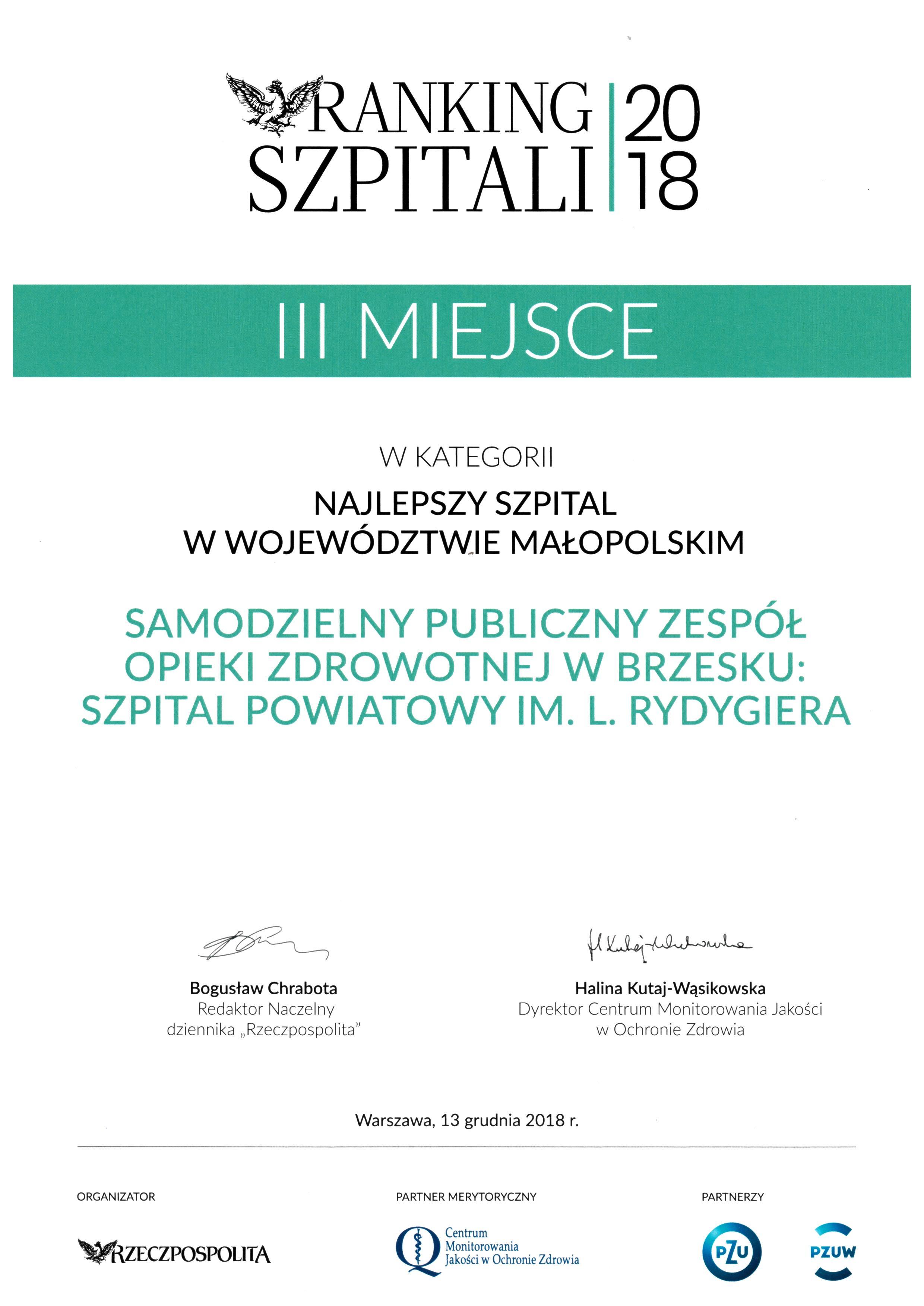 Dyplom III miejsce najlepszy szpital w małopolsce