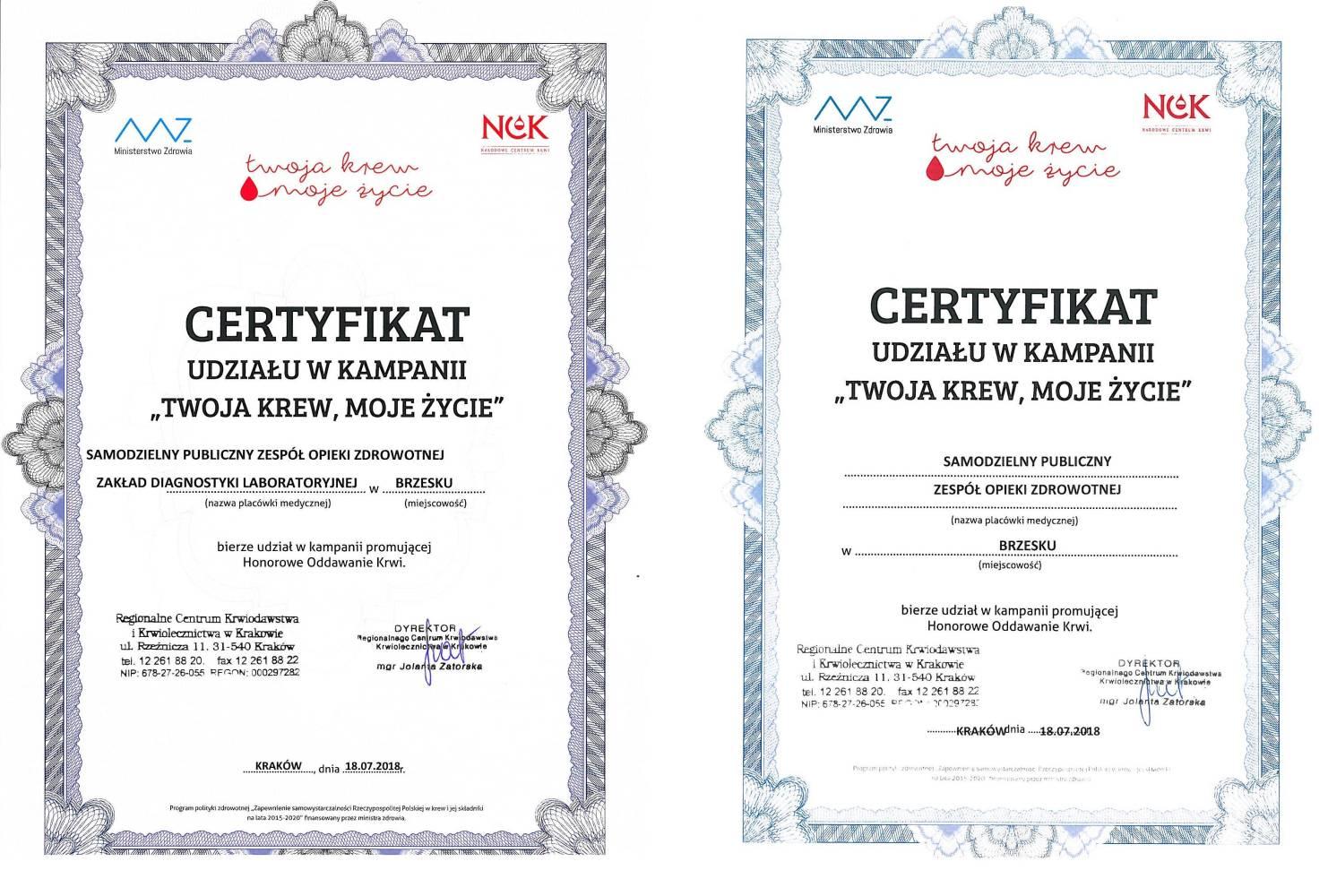 Certyfikat Krew